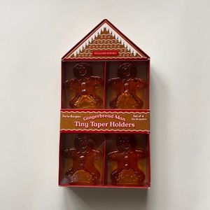 Williams Sonoma Gingerbread Man Taper Candle Holders for Holiday and Christmas